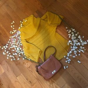 Love by Chelsey Yellow Chunky Cowl Neck Sweater